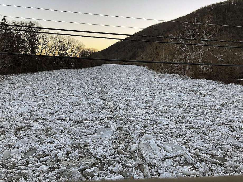 State Representative Brian Ohler, R-North Canaan, said the flooding on Jan. 13, 2018, in Kent, Conn., was caused by an ice jam. He shared a photo of the Housatonic River in Kent, covered in blocks of ice. — Brian Ohler photo