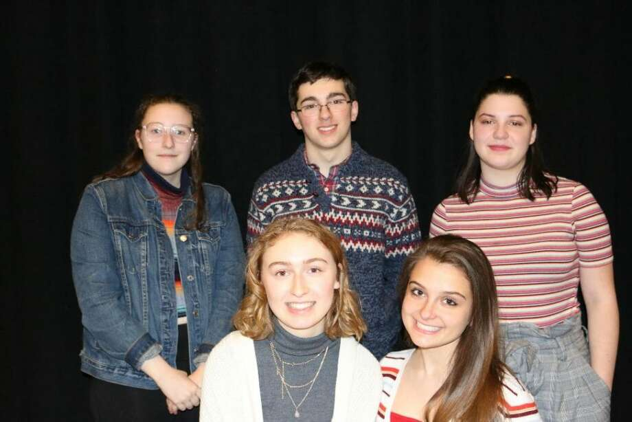 Ridgefield High School students, clockwise from top left: Lucy Basile, Evan Smolin, Lane Murdock, Emily Parker and Ana Kowalczyk will direct An Evening of One-Acts to be performed in the high school's Black Box Theatre on Jan. 24, 26, 31 and Feb. 1-2. — Tanya Jaeger photo
