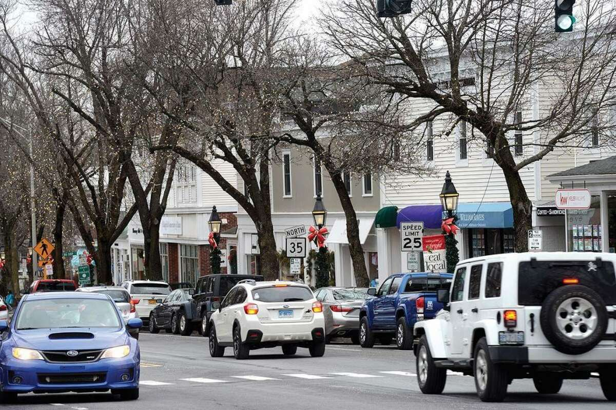 The scene on a quiet Sunday morning in December along Main Street in Ridgefield. - Ned Gerard photo
