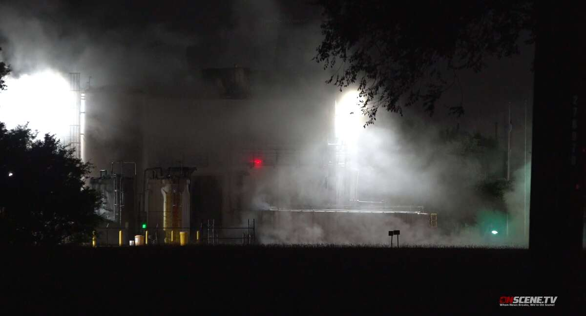 A Houston Fire Department hazmat crew responds to a chemical leak Tuesday morning, June 18, at a manufacturing facility in northwest Houston. The facility uses krill to make fish oil.