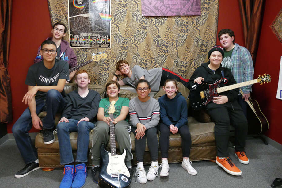 The School of Rock House Band features guitarist Walker Liebowitz, keyboardist Jake Almsted, bassist Teddy Davies, singer Pablo Carmona, guitarist Marc Digiacomo, drummers Owen Lofaso and David Bryce, and singers Tatiana Carmona and Juliette Axen. Not pictured: Keyboardist Rohan Connolly and guitarist Jake Arnowitz. — Steve Coulter photo