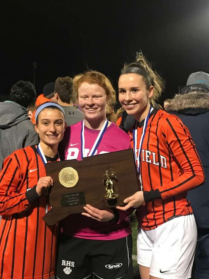Ridgefield High School girls soccer captains Amelia Hynes, Lauren Castle, and Claire Middlebrook.