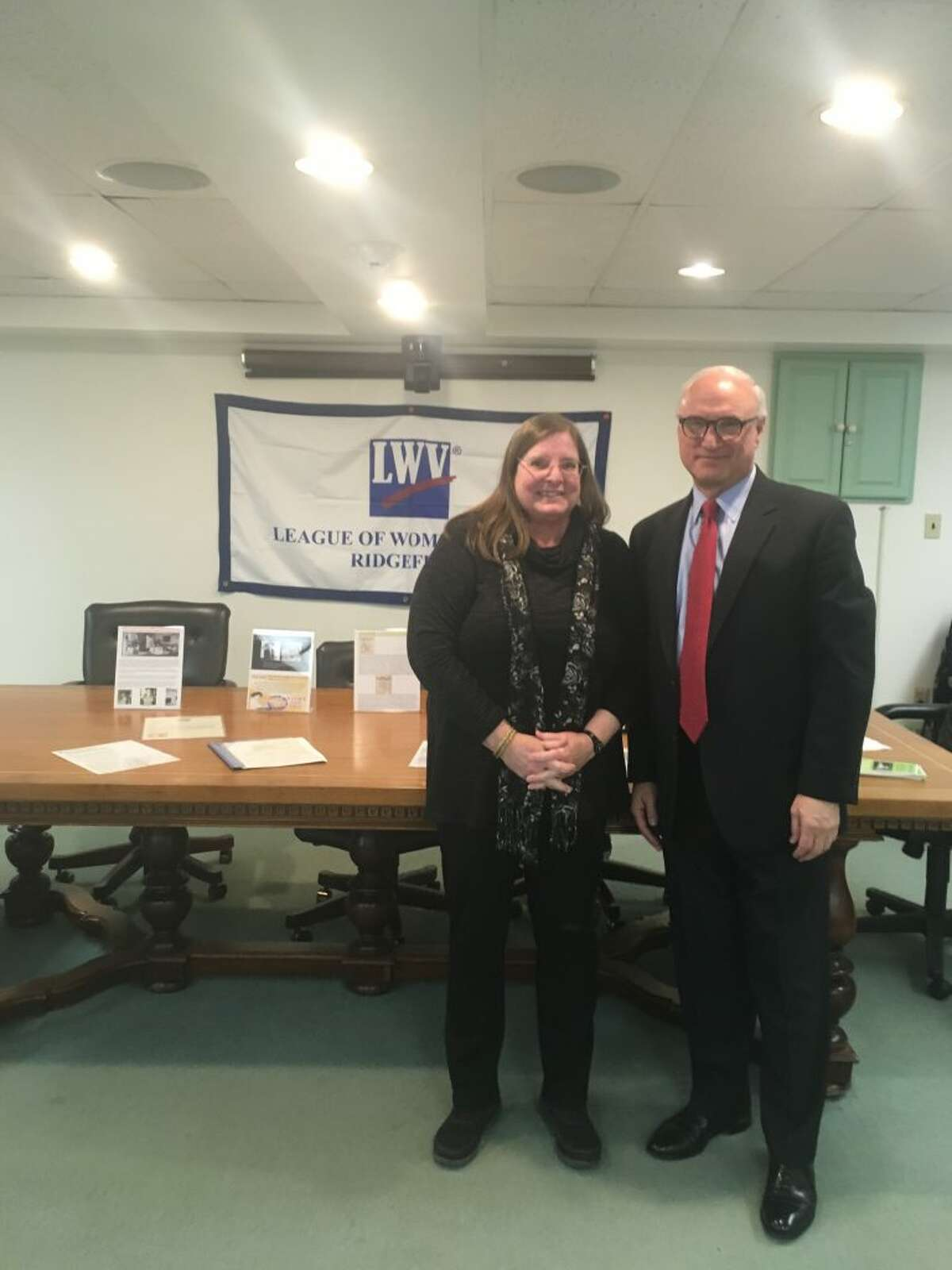First Selectman Rudy Marconi, right, stands with Marilyn Carroll, president of the League of Women Voters. - Peter Yankowski