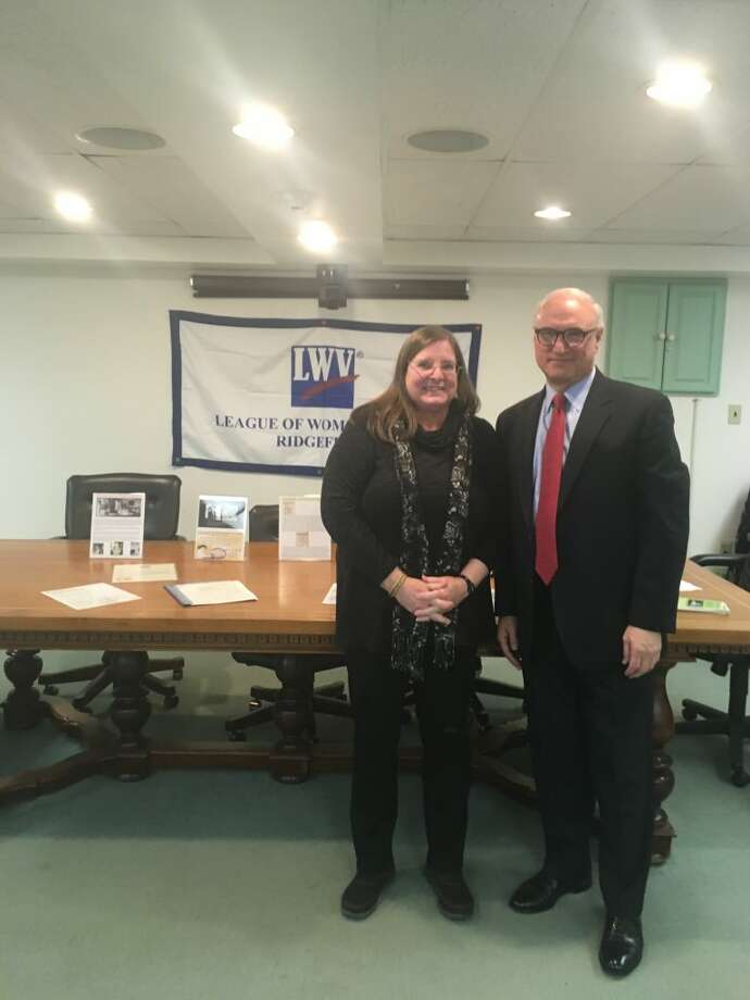 First Selectman Rudy Marconi, right, stands with Marilyn Carroll, president of the League of Women Voters. — Peter Yankowski