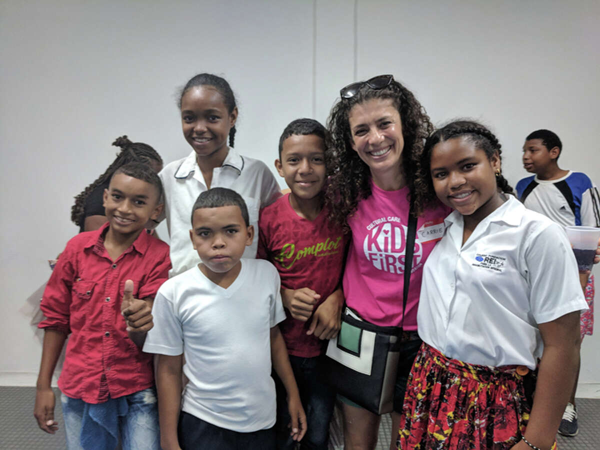 Ridgefield resident Carrie Smuckler visits Colombian students during her service trip in October through the Kids First Foundation.