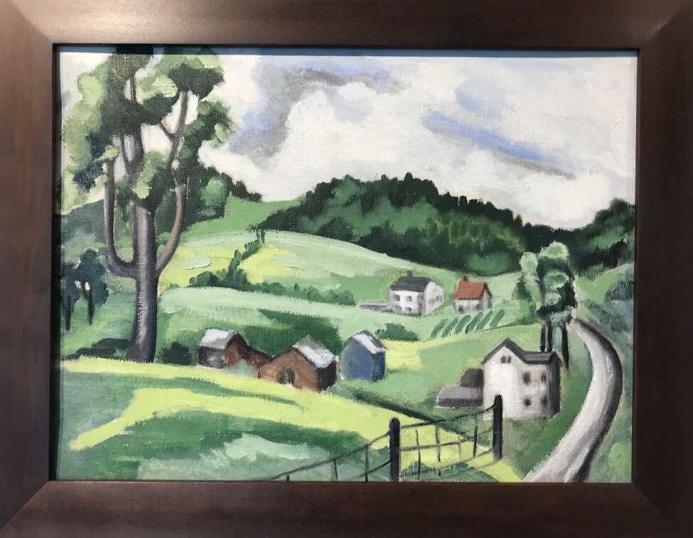 A never-before-exhibited untitled Bolton Landing landscape painted by sculptor David Smith in 1930.
