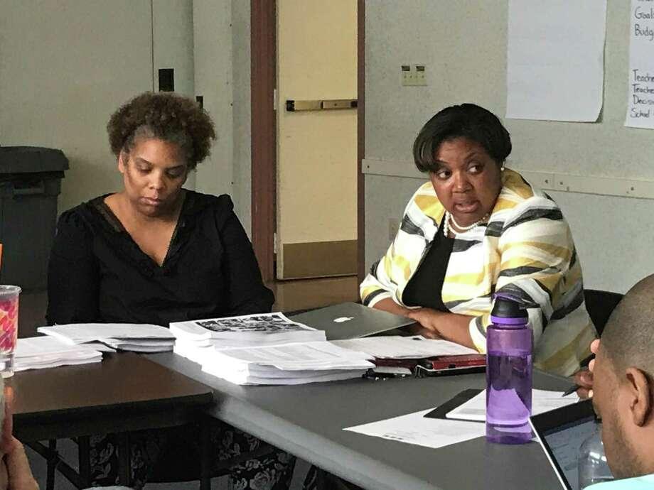 Board of Education member Tamiko Jackson-McArthur and Assistant Superintendent Keisha Hannans Photo: Brian Zahn / Hearst Connecticut Media