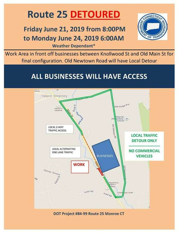 A detour has been scheduled for the Route 25 bridge project from 8 p.m. June 21, 2019  to 6 a.m. June 24, 2019. Photo: Contributed / Monroe Police Department