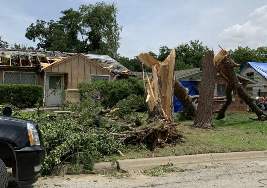 A brief EF-1 tornado with wind speeds of 95 mph occurred in Arlington Sunday afternoon, according to the National Weather Service Fort Worth. Photo: National Weather Service Fort Worth