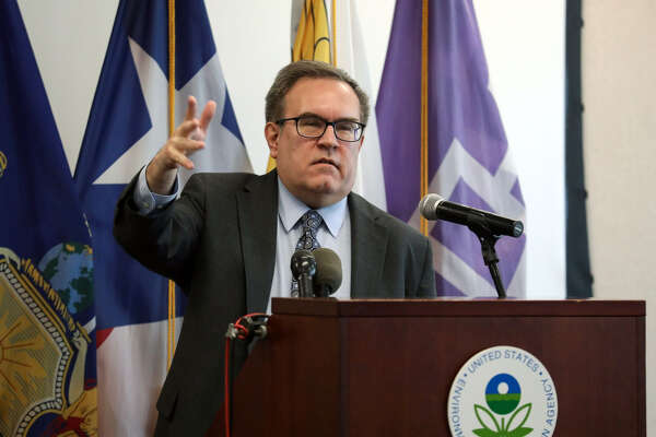 Andrew Wheeler, administrator of the Environmental Protection Agency, speaks during a news conference on the Superfund program in New York, on March 4, 2019.