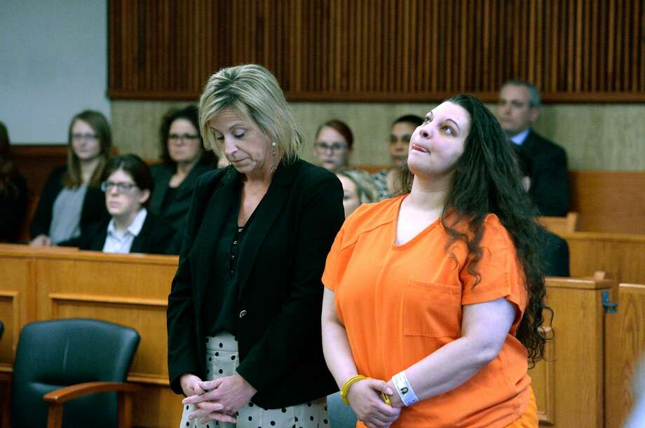 Heaven Puleksi, right, stands with her lawyer, Lara Barnett, as she awaits sentencing for killing her 3-month-old son last year. The 39-year-old will serve 15 years in state prison after pleading guilty to manslaughter. Photo: Daily Gazette / Pool Photo