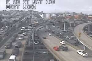 Traffic onto the lower deck of the Bay Bridge during the reverse-commute direction was at a standstill after a wreck closed lanes of the I-80 span and shut the Treasure Island off ramp.