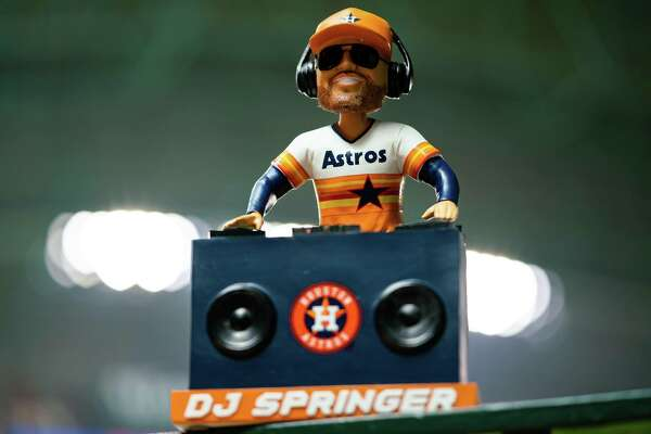 The Houston Astros' exclusive bobblehead of the month for June is Springer DJ, featuring George Springer as the team DJ.