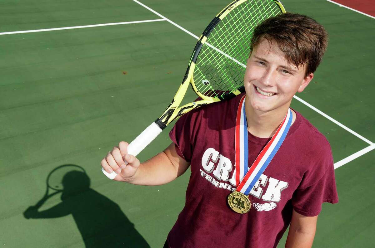 Carter Crookston, of Clear Creek High School, is the All-Greater Houston boys tennis player of the year shown Thursday, June 6, 2019, in League City.