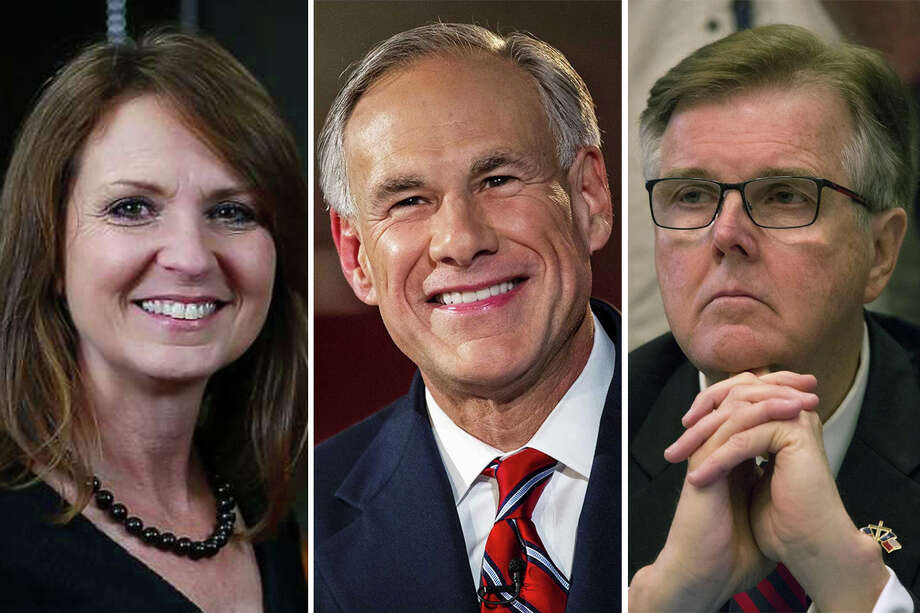 Angela Paxton (left), Greg Abbott (center) and Dan Patrick (right) all made Texas Monthly's 2019 list of the best and worst legislators in the state.