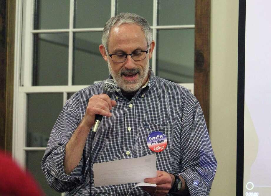 Jonathan Perloe speaks at the Westport Country Playhouse in Westport, Conn. on March 2, 2017. Photo: Laura Weiss / Hearst Connecticut Media / Westport News
