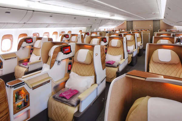 Emirates' new business class cabin on a 777-200LR.