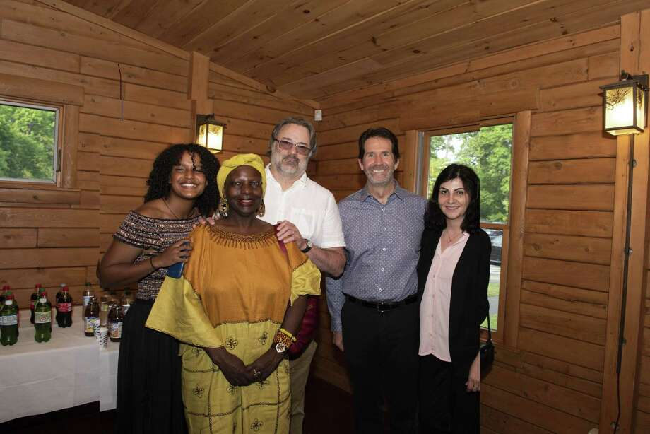 Pictured at the 2019 Aquarion Environmental Champion Awards ceremony at the Beardsley Zoo in Bridgeport are, from left to right: Danika Wagener, Rita Wagener, Professor of Biological and Environmental Sciences Dr. Mitch Wagener, Biological and Environmental Sciences Department Chair Dr. Pat Boily, and Karina Ross. Photo: Roger D Salls / Contributed Photo / Copyright Roger Salls Photography 2019