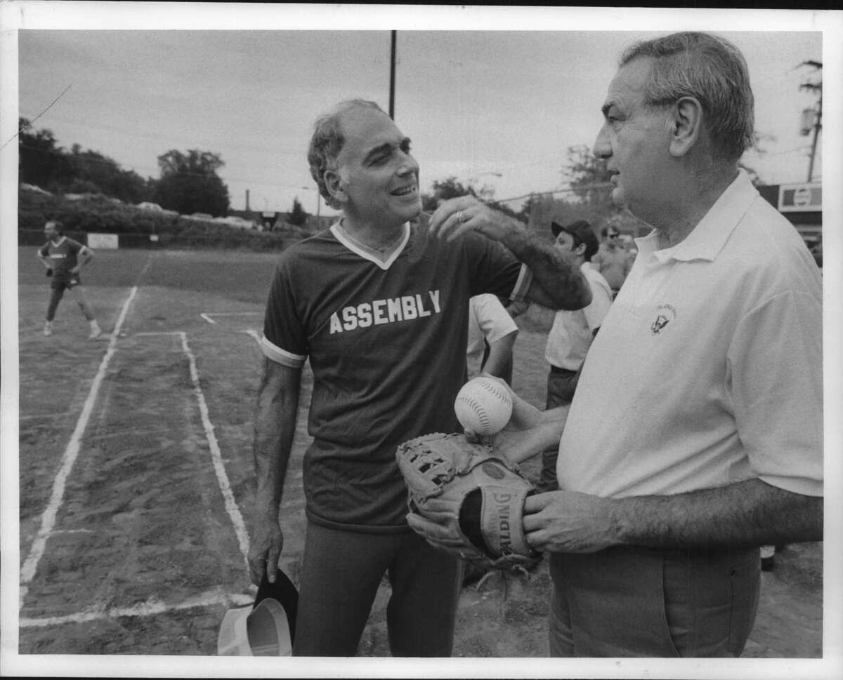 Mullon Field, Albany, New York - Assembly Speaker Mel Miller and Senate Majority Leader Ralph Marino just before start of annual softball game Tuesday evening. June 20, 1989 (John Carl D'Annibale/Times Union Archive)