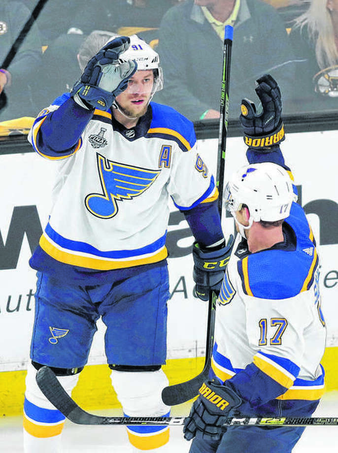 The Blues' Vladimir Tarasenko, left, celebrates a goal against the Boston Bruins in Game 1 of the Stanley Cup Final May 27 in Boston. The Blues, who went on to win the Stanley Cup, will open their 2019 preseason schedule Sept. 16 at Dallas. Photo: AP Photo