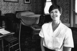 Wilton, New York - Candace Griffith, supervisor of Grant's Cottage, stands in the room where the 18th President of the U.S. died in bed. July 16, 1989 (John Carl D'Annibale/Times Union Archive)