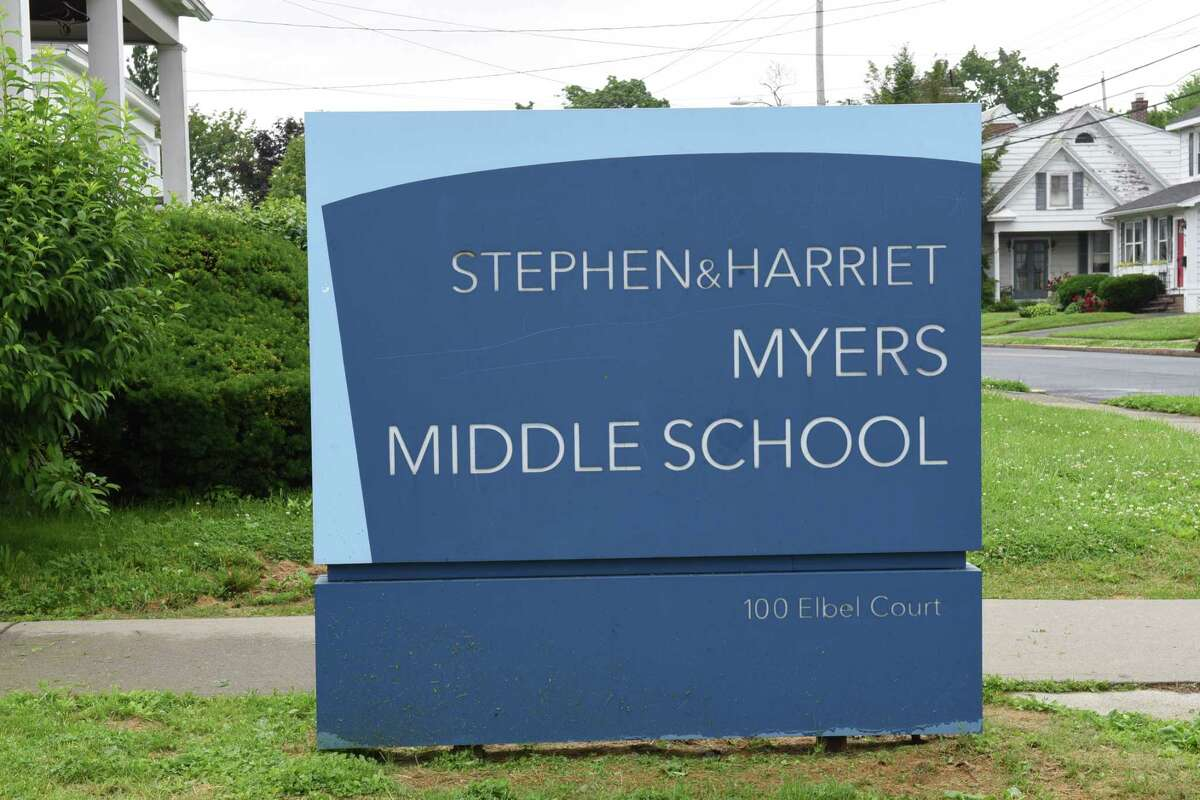 Sign at the entrance of Stephen and Harriet Myers Middle School on Tuesday, June 18, 2019 in Albany, N.Y. (Lori Van Buren/Times Union)