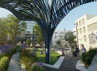 A rendering of the future Mary Court park, to be built as part of the 5M project in SoMa.