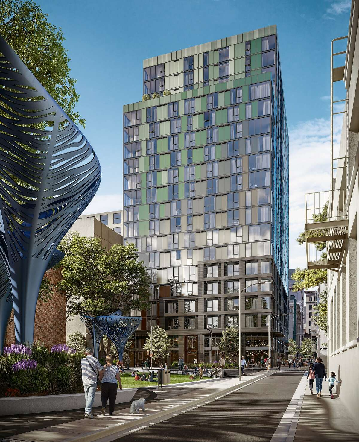 A rendering of the 434 Minna St. residential building, which is part of the 5M project in SoMa.