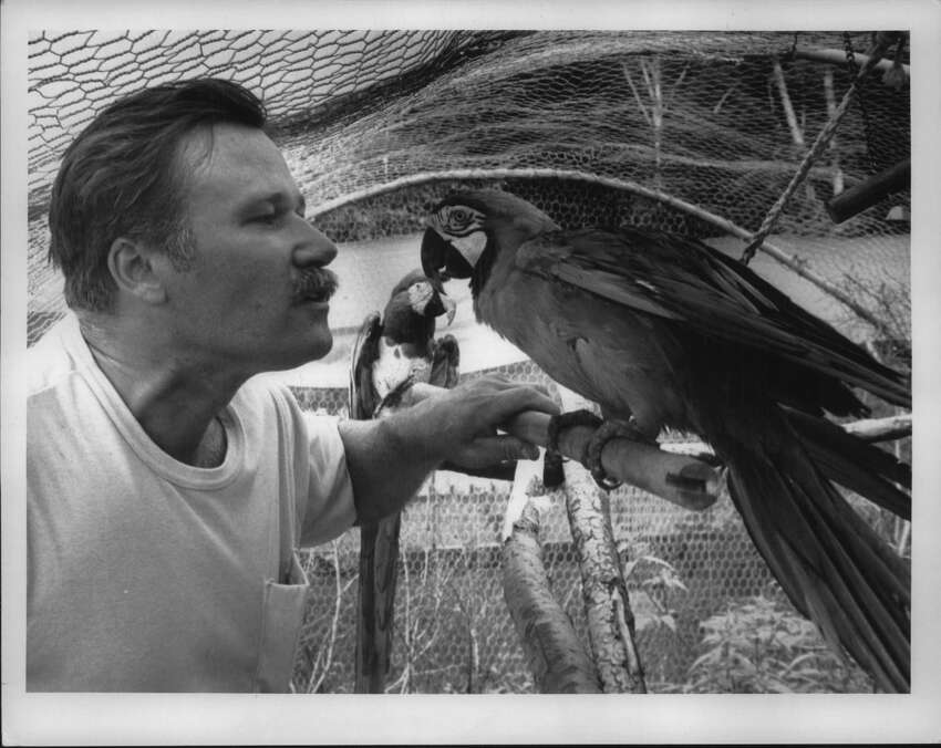 Berkshire Bird Paradise near Grafton, New York - Pete Dubacher talks to a couple of parrots at his Bird Paradise. Possible people page if not used in .. section. August 23, 1989 (Arnold LeFevre/Times Union Archive)