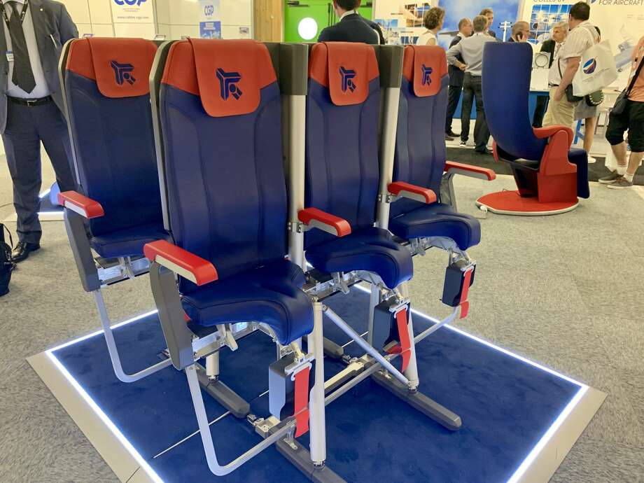 "Avio Interior's ""SkyRider"" saddle-like airplane seat at this week's Paris Air Show Photo: Tim Jue, Chris McGinnis"