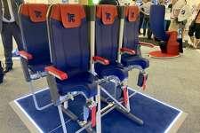 "Avio Interior's ""SkyRider"" saddle-like airplane seat at this week's Paris Air Show"