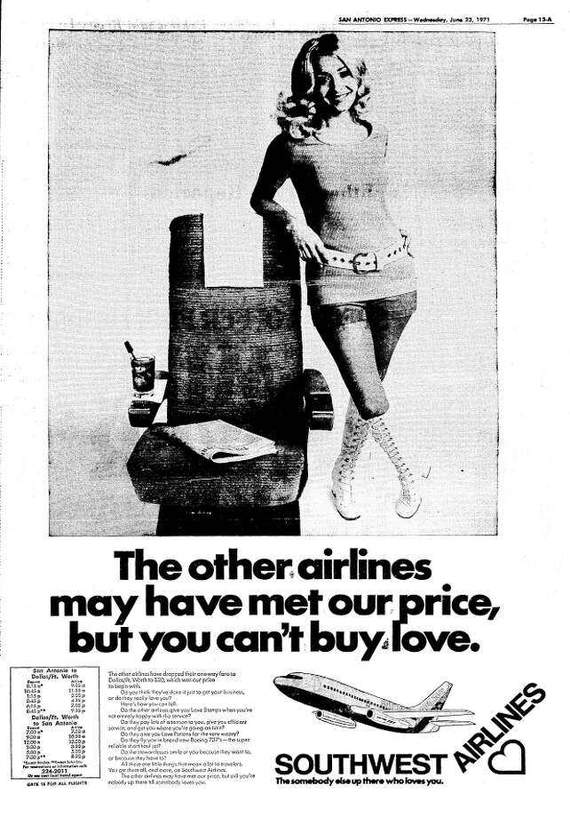 This ad ran in the San Antonio Express-News on June 23, 1971, a few days after the first Southwest Airlines flights took to the air. Photo: San Antonio Express-News Archives