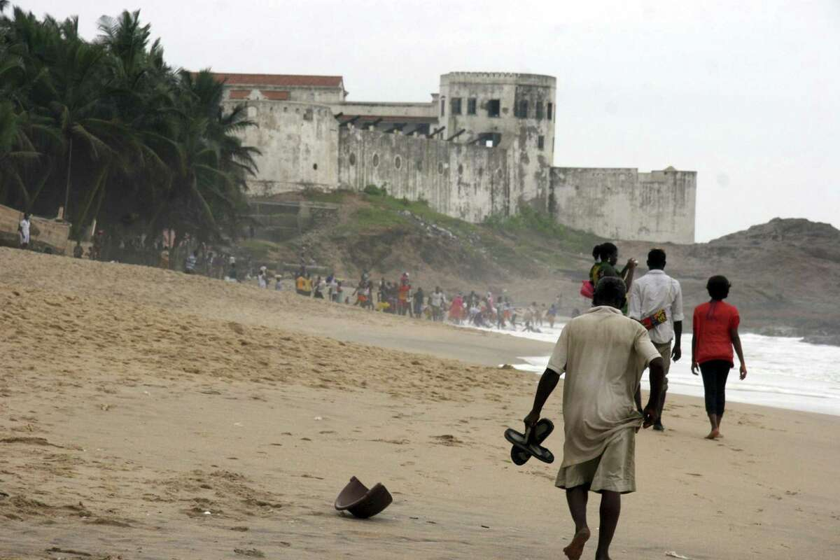 The old slave castle at Cape Coast, complete with rusting cannons and dismal dungeons, remains a reminder of the inhuman trade in captive humans that prevailed here for three centuries. It is now a tourist attraction.