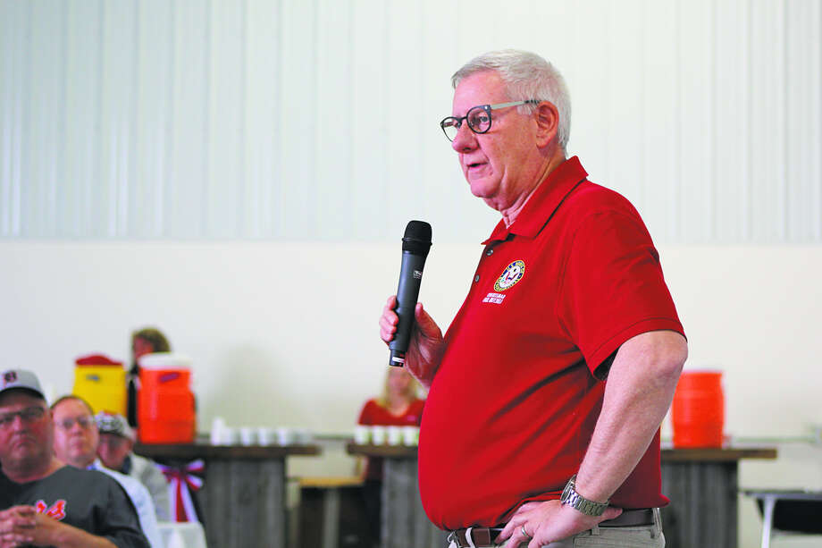 U.S. Rep. Paul Mitchell speaks at a Michigan Farm Bureau event this week in Unionville. He answered questions about many topics Congress is dealing with right now. (Robert Creenan/Huron Daily Tribune)