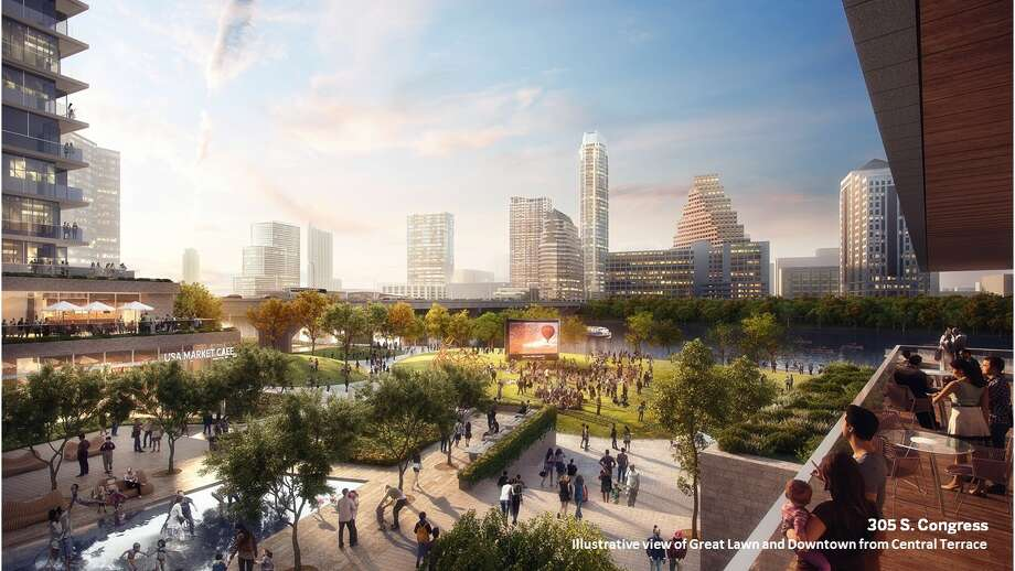 Illustrative view of Great Lawn and Downtown from Central Terrace. Photo: 305 S Congress_rendering © SOM