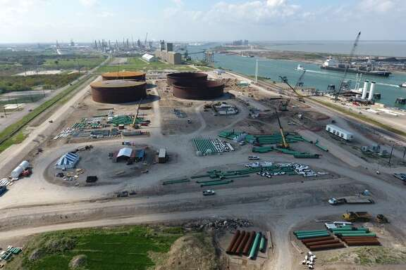 Aerial view of the construction for the Eagle Ford Terminals Corpus Christi LLC export terminal at the Port of Corpus Christi. Houston pipeline and storage terminal operator Enterprise Products Partners is seeking to sell the company's 50 percent stake in the project.