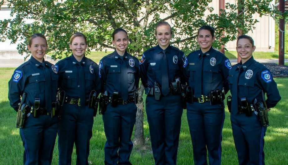Conroe Police Academy's graduating female recruits gather for a photo. from left to right, Conroe Police Department recruits Shanna House and Emilee Hoffman, Huntsville PD recruit Katherine Andrews, Conroe PD recruits Amanda Witt, Ashley Gonzalez and Kaylee Sustanan. Photo: Courtesy Of The Conroe Police Department