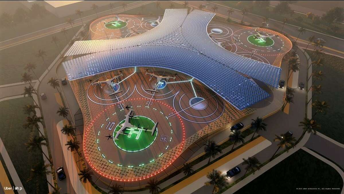 This design by SHoPis for the Los Angeles Uber Skyport hub.