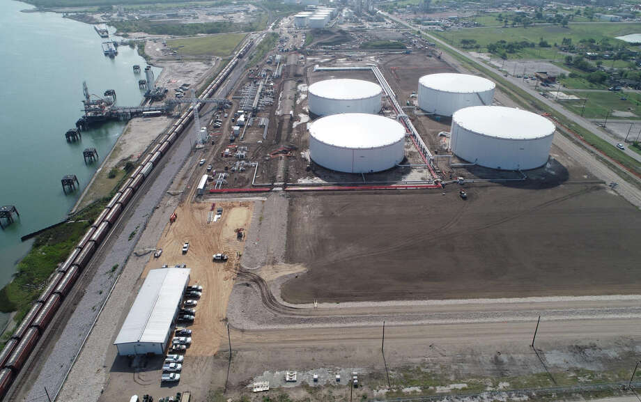 Aerial view of the Eagle Ford Terminals Corpus Christi LLC export terminal at the Port of Corpus Christi. Houston pipeline and storage terminal operator Enterprise Products Partners is seeking to sell the company's 50 percent stake in the project. Photo: Eagle Ford Terminals Corpus Christi LLC