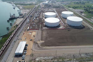 Aerial view of the Eagle Ford Terminals Corpus Christi LLC export terminal at the Port of Corpus Christi. Houston pipeline and storage terminal operator Enterprise Products Partners is seeking to sell the company's 50 percent stake in the project.