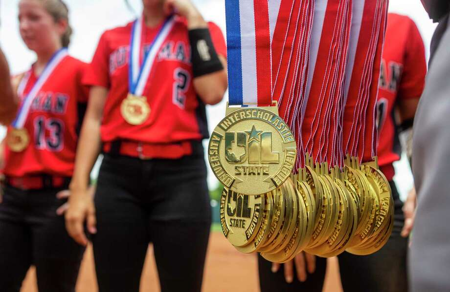 Huffman Hargrave receive their gold medals after a 12-0 win in six innings over Anna during the UIL Class 4A state softball championship in Austin, Saturday, June 1, 2019. (Stephen Spillman / for Houston Chronicle) Photo: Stephen Spillman / Stephen Spillman / stephenspillman@me.com