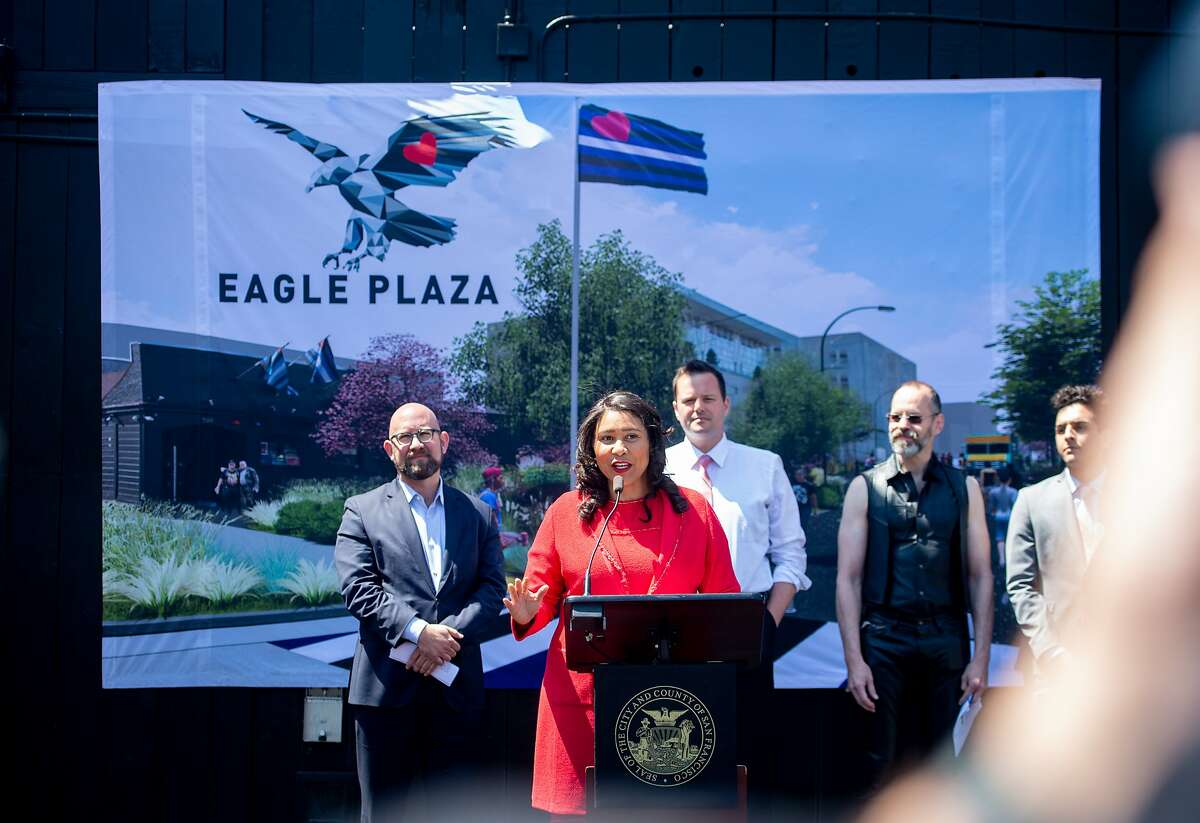 Mayor London Breed joins the SF Parks Alliance and BUILD for the groundbreaking of the world?•s first public plaza dedicated to the living commemoration of Leather Heritage at the SF Eagle Bar in San Francisco on Tuesday, June 18, 2019.