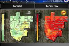 Temperatures will heat up beginning tomorrow (Wednesday) with highs in the triple digits for much of the area.