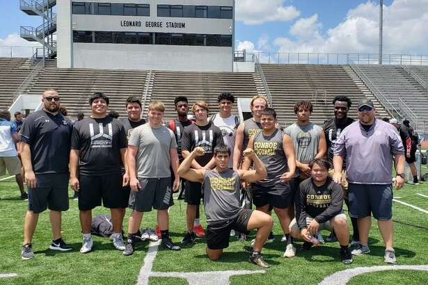 The Conroe linemen pose for a photo after competing in the Spring High School War Zone Challenge last weekend. The Tigers will be hosting the Conroe Lineman Challenge on Saturday at Moorhead Stadium.