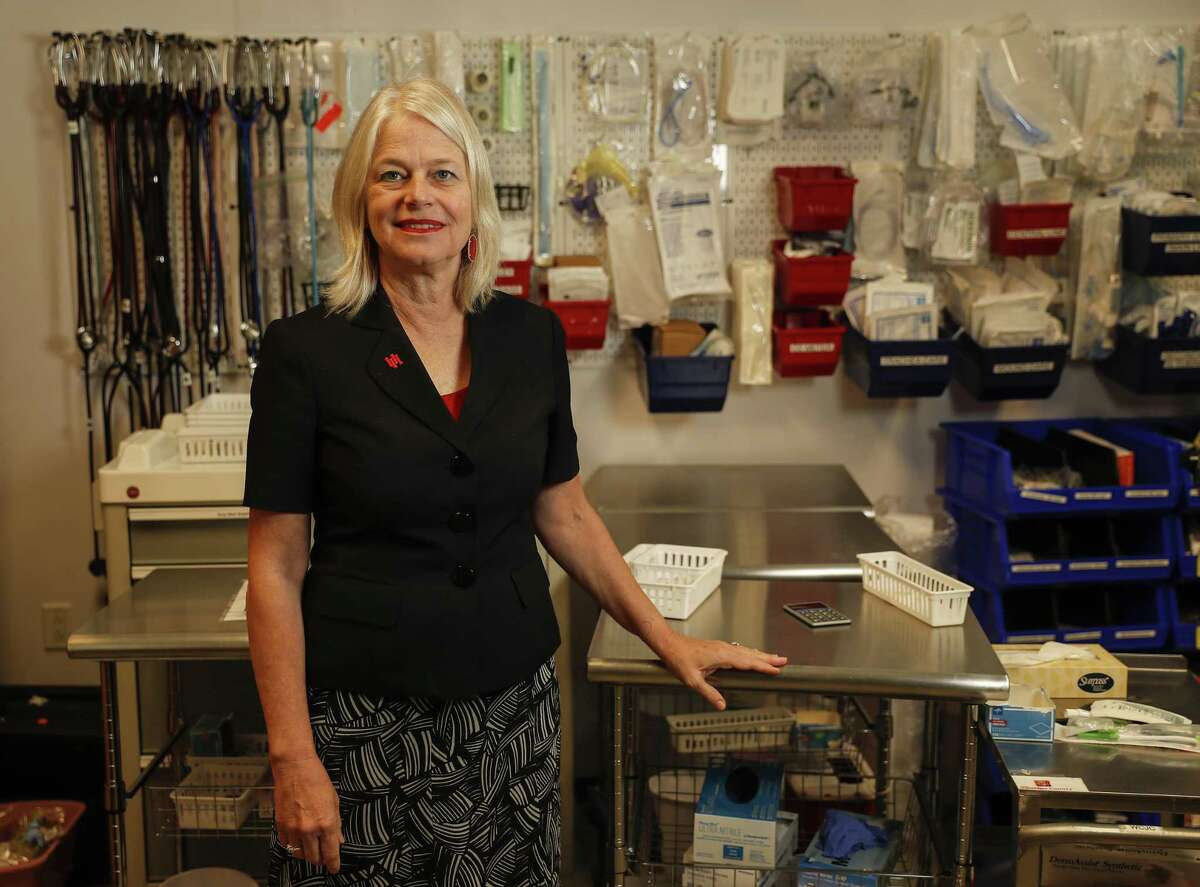 Kathryn Tart, the Dean of Nursing at The University of Houston at Sugar Land in the supply closet, in Sugar Land, Monday, May 20, 2019.