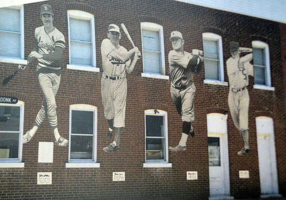 "A preliminary design by artist Troy Freeman of a proposed mural on the Maryville Heritage Museum that would depict the four former Major League Baseball players from Maryville, including left to right, Ken Oberkfell, Dwain Sloat, John C. ""Buster"" Lucas and Bob Boken. Photo: Scott Marion 