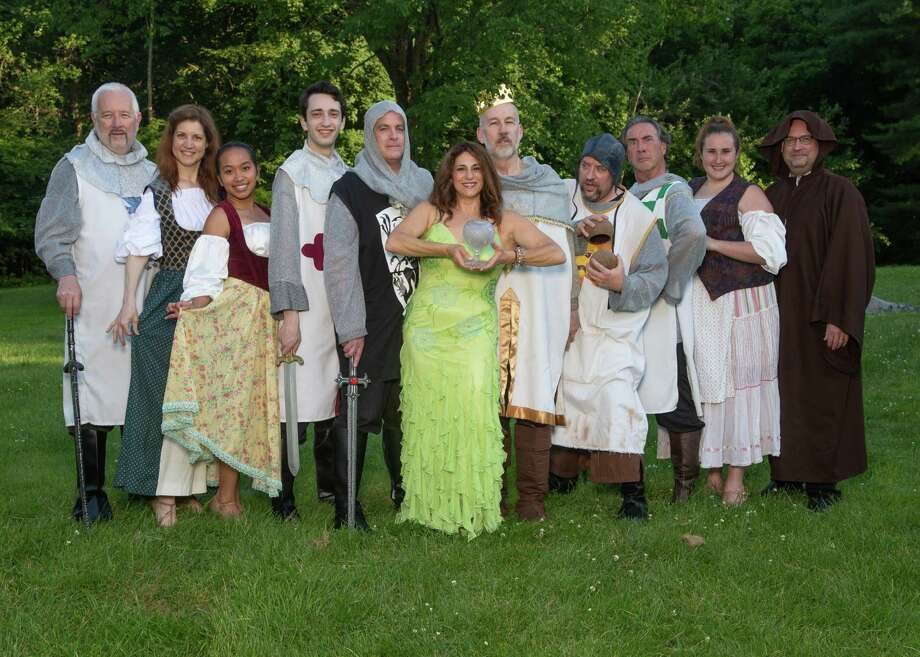 """Monty Python's Spamalot"" will be performed at Danbury's Musicals at Richter, June 28-July 13. From left are John McMahon, Denise Milmerstadt, Teah Renzi, Daniel Satter, Tom Denihan, Mary Cantoni, Walter Cramer, Mike Armstrong, Bob Filipowich, Brenda Schoenfeld and John Armstrong. Photo: David Henningsen Photography / Contributed Photo"
