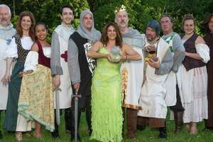 """Monty Python's Spamalot"" will be performed at Danbury's Musicals at Richter, June 28-July 13. From left are John McMahon, Denise Milmerstadt, Teah Renzi, Daniel Satter, Tom Denihan, Mary Cantoni, Walter Cramer, Mike Armstrong, Bob Filipowich, Brenda Schoenfeld and John Armstrong."