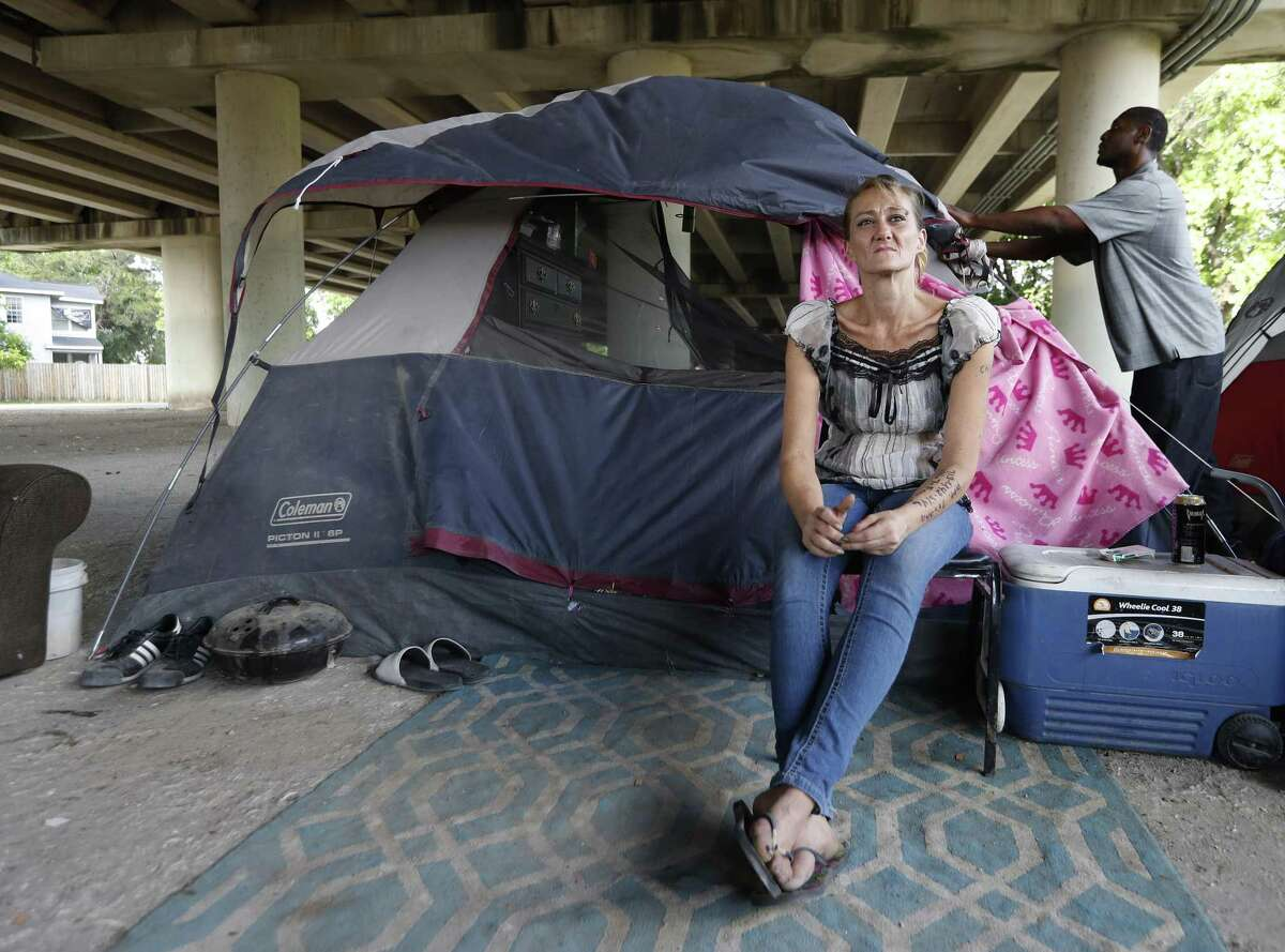 Tammy Kohr, one of three plaintiffs in the lawsuit being filed by the ACLU of Texas, asking a federal judge to halt the city's new ordinances limiting panhandling and camping in public, in her encampment near Wheeler and Caroline, Monday, May 15, 2017, in Houston. ( Karen Warren / Houston Chronicle )