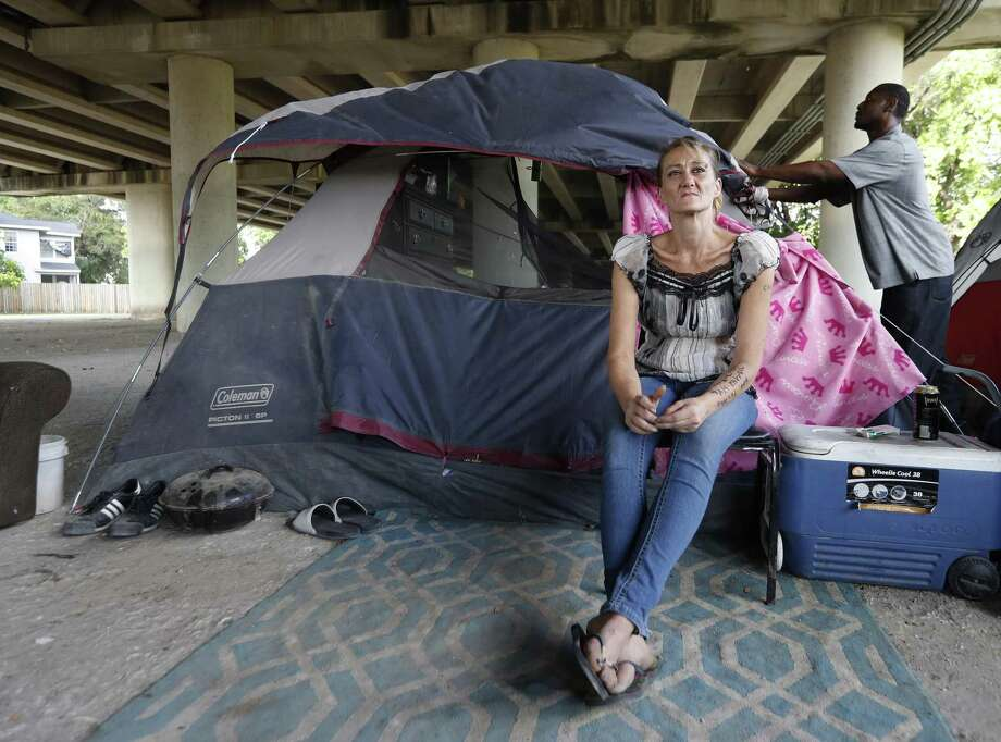 Tammy Kohr, one of three plaintiffs in the lawsuit being filed by the ACLU of Texas, asking a federal judge to halt the city's new ordinances limiting panhandling and camping in public, in her encampment near Wheeler and Caroline, Monday, May 15, 2017, in Houston. ( Karen Warren / Houston Chronicle ) Photo: Karen Warren / Staff File Photo / 2017 Houston Chronicle